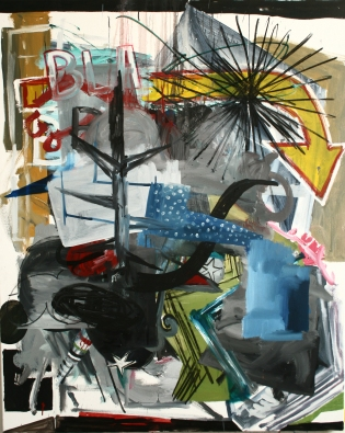 going down,152x122cm,mixmedia on canvas,2013